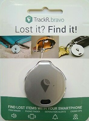 Genuine TrackR Bravo Tracking Device - Crowd GPS Tracker - Key Finder - Silver