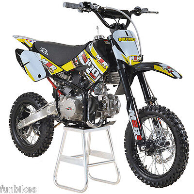 M2R Racing KM140MX 140cc 14/12 82cm Pit Dirt Bike Red Yellow MX Offroad