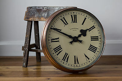 "Large 18"" Vintage Industrial Copper/Brass Synchronome Factory Station Wall Clock"