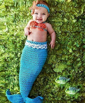 Wind of Spring? Newborn Baby Crochet Knitted Photo Photography Props Mermaid