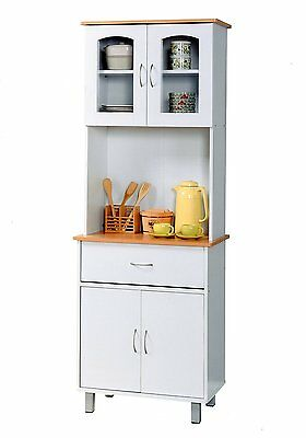 2 of 6 White Tall Microwave Cabinet Stand Hutch Pantry Cart Storage Cupboard Kitchen S  sc 1 st  PicClick & WHITE TALL MICROWAVE Cabinet Stand Hutch Pantry Cart Storage ...