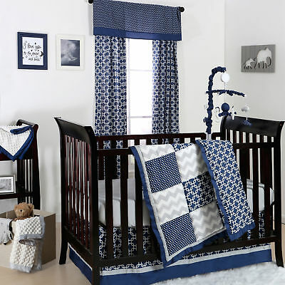 Navy Blue and Grey Geometric Patchwork 3 Piece Crib Bedding by The Peanut Shell