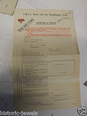 WW1 YMCA Expeditionary Force application form RECRUITMENT