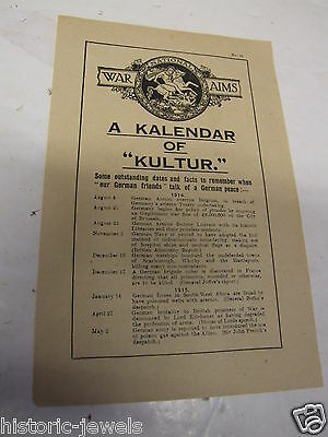 WW1 HOME FRONT leaflet NATIONAL WAR AIMS