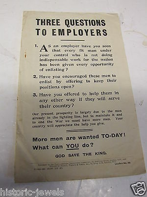 WW1 HOME FRONT leaflet 30 RECRUITMENT EMPLOYERS
