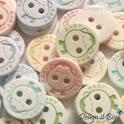 Round Baby Buttons with Monkeys - Boys or Girls - Crafts and Sewing 2 Holes 13mm
