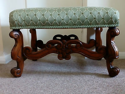 Victorian Upholstered Mahogany Framed Foot Stool