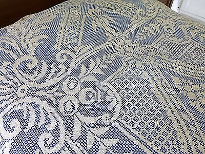 Large antique Italian handmade filet lace tablecloth / bedspread