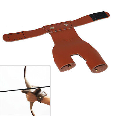 Cow Leather Arrow Glove Bow Finger Hand Guard Archery Hunting Shooting Practical