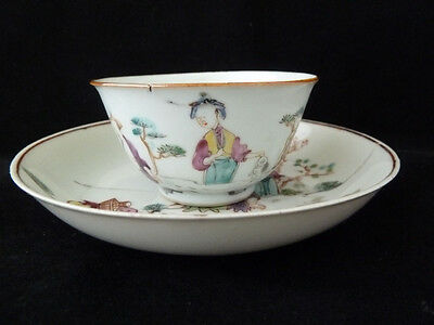 Fine Quality Chinese Famille Rose 18th Century Teabowl & Saucer - Fisherman