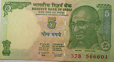 2009 India 5 Rupees Gandhi Green Colorful Uncirculated Note Lot of 10