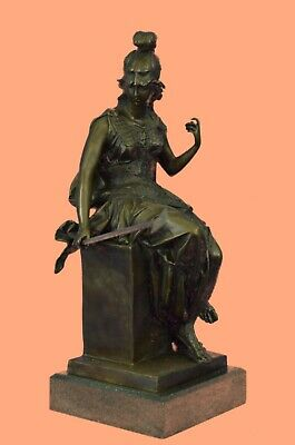 Ancient Style Bronze Greek Athena Roman Minerva Goddess Stand Figurine Figure