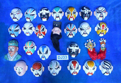 Vintage Antique Japanese Japan Kabuki Noh Miniature Masks Lg Lot 26p DJ33