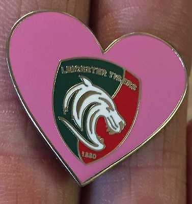 Leicester Tigers Rugby Union Pink Heart Enamel Pin Badge