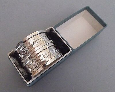 Boxed pair vintage solid silver napkin rings, Henry Griffith & Sons, B'ham 1934