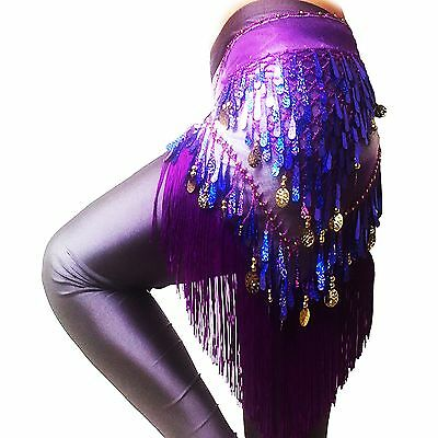 LAFIZZLE 8 Color Belly Dancing Belt Colorful Waist Chain Belly Dance Hip Scarf B