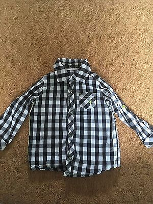 boys black & white checked long sleeve shirt - george - 12-18 months