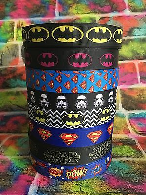 Superhero Comic Grosgrain Ribbon 22mm 7/8 Batman, Superman, Batgirl, Star Wars