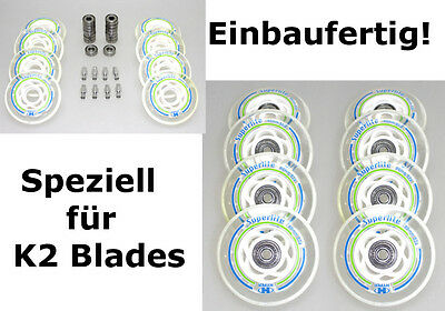 4/8er HYPER Rolle SUPERLITE 80mm K2 Skates Inliner Option: montiert ABEC7+Spacer