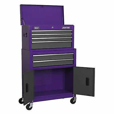 Sealey Tool Storage Top Box Chest & Roller Cabinet Combination Toolbox - Purple