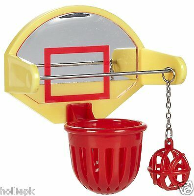 Basketball Bird Toy For Cockatiel Budgie Plastic Reflective Back Bolts To Cage