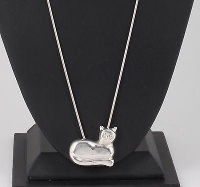 Sterling Silver Cat Pendant Chain Necklace Fine 925 Signed 3485