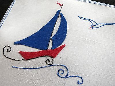 SAILBOATS Seagulls Vintage Hand Embroidered Linen Set 8 PLACEMATS & RUNNER