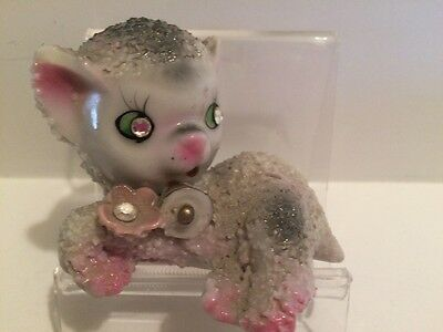 Early 1960's Easter Anthropomorphic Porcelain Lamb w Flower & Bell Collar RARE