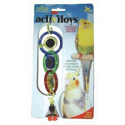 Jw Budgie Cockatiel Canary Bird Triple Mirror With Bell Toy Hooks To Cage