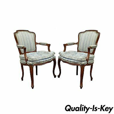 Pair of Vtg French Louis XV Style Living Room Chairs Lounge Provincial Country