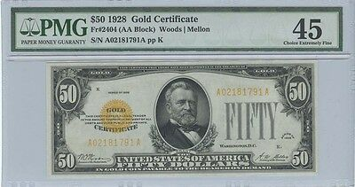 1928 $50 Gold Certificate FR#2404 PMG XF45 Choice Extremely Fine
