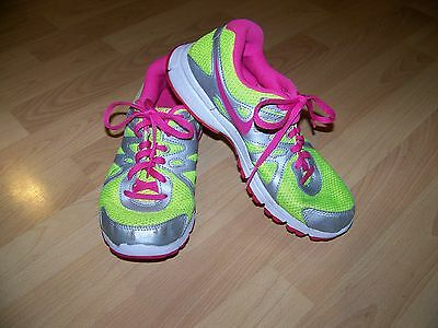 Pre Owned Nike Revolution 2 Girls Shoes Size 5.5 Hot Pink, Gray And Lime