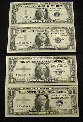 1957  $1 Silver Ceritifcate 4 UNC Consecutive Serial Numbers
