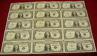 15 1957 $1 Silver Certificates - various #'s - XF