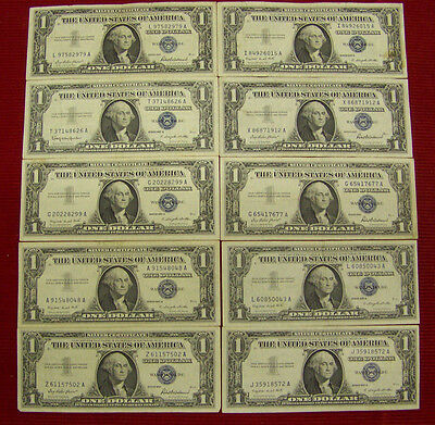 10 1957 $1 Silver Certificates - various #'s - XF  Nice!!!