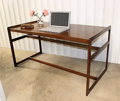 Rare Danish Modern Mid Century Teak Partners Desk Library Table