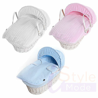 New Baby Grey/white Wicker Dimple, Bubble Newborn Padded Baby Moses Basket