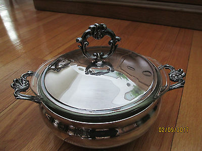 Vintage Silverplate Footed Serving Bowl Dish With Cover And Pyrex Insert