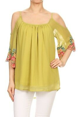 86cae94bdcba1a VaVa by Joy Han Poppy Cold Shoulder Top Chartreuse Green Lined Poly NWT  Size S