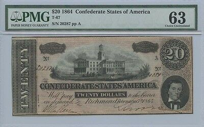 1864 $20 Confederate States of America Note T-67 PMG MS63 Choice Uncirculated
