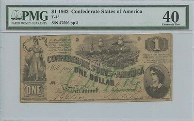 1862 $1 Confederate States of America Note PMG XF40 Extremely Fine