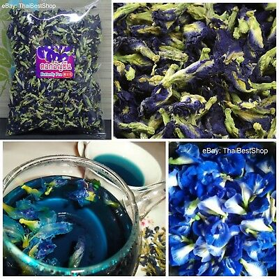 Thai Pure Natural Dried Butterfly Pea Tea, Blue Flowers Tea Healthy Drink 100%