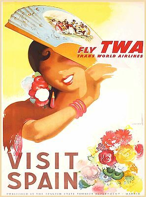 TWA Visit Spain Europe Vintage Airlines Travel Advertisement Art Poster Print