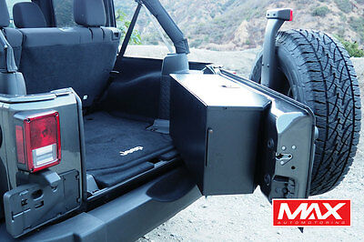 07-17 Jeep Wrangler Aluminum Tailgate Storage Box Vault No-Drill Gloss Black