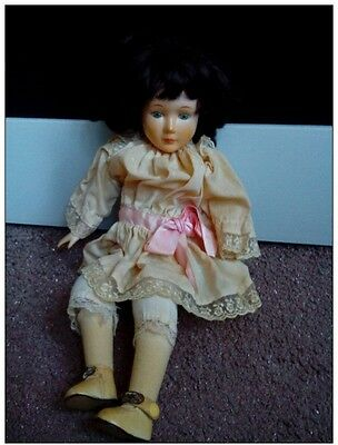 VINTAGE GERMAN PORCELAIN BISQUE DOLL BIG SIZE 41cm. RARE lacework SEATED