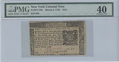 1776 $1/6 New York Colonial Note Fr#NY186 PMG 40 Extremely Fine