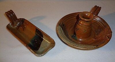 Stoneware Studio Pottery Taper Candle Holder & Tray - Maple Leaf Design - Signed