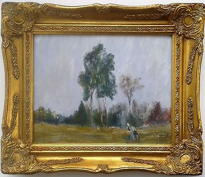 Unsigned Old Framed Impressionist Oil Painting Woman in Woods Landscape Art