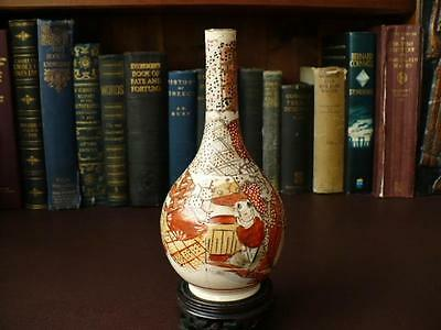Japanese Pottery, Vases, 19th c Meiji Period Japanese Satsuma Bottle Vase