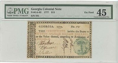 1777 $15 Georgia Colonial Note PMG 45 Choice Extremely Fine (EX:Ford)